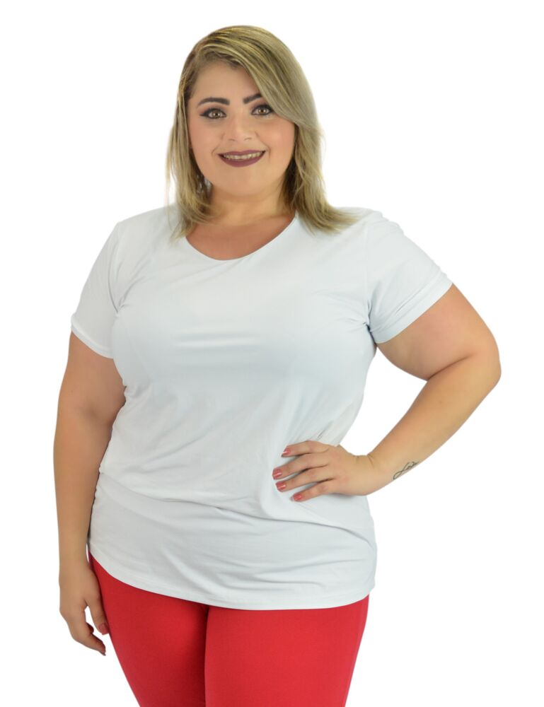 Camiseta Fitness Plus Size Branca