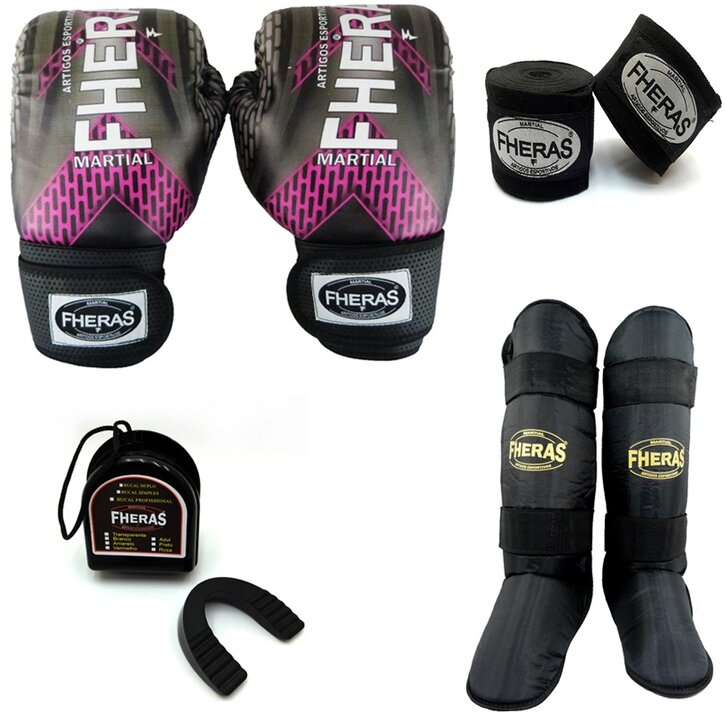 Kit boxe - Luva bandagem bucal caneleira -IRON ROSA TOP