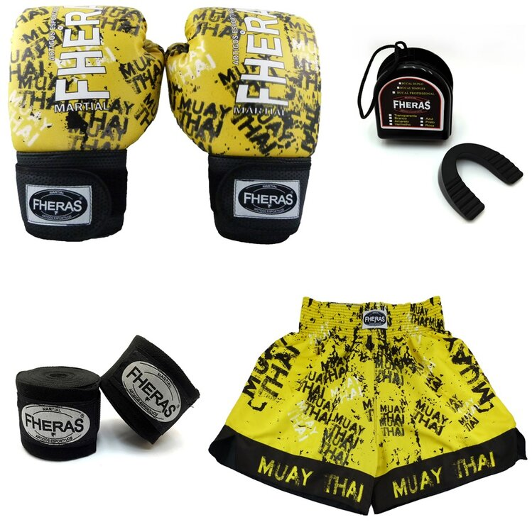 Kit boxe - Luva bandagem bucal e shorts -TOP GRAFITE