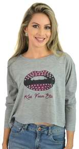 Blusa Cinza Kiss Your