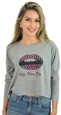 I&M Store  Blusa Cinza Kiss Your   1