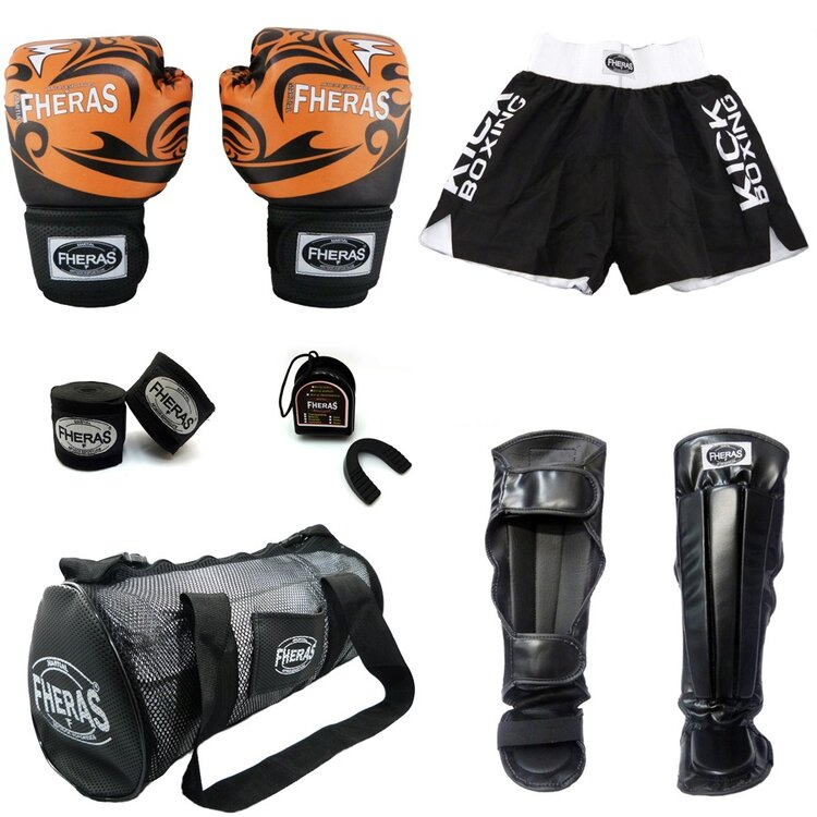 Kit boxe com caneleira anatômica bolsa shorts TRIBAL - TOP