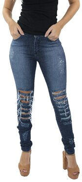 Crosby  Calça Jeans Feminina Destroyed Escuro  1